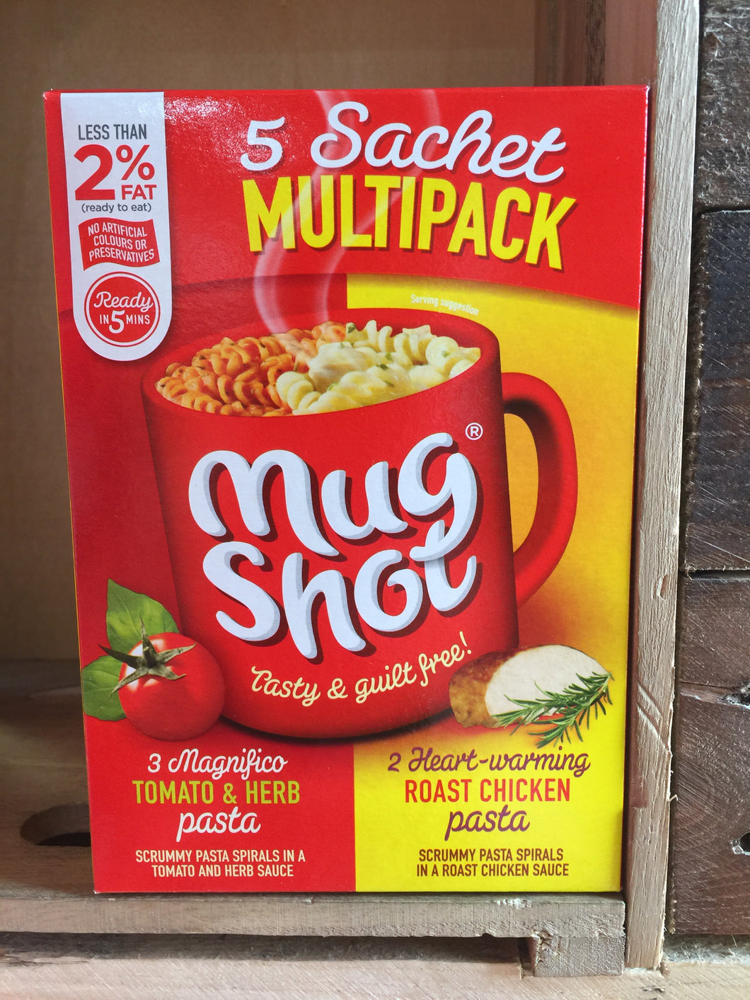 Mug Shot Multipack 3x Tomato and Herb 2x Roast Chicken Sachet 302g