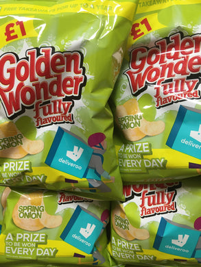 15x Golden Wonder Spring Onion Flavour Crisps Share Bags (15x75g)