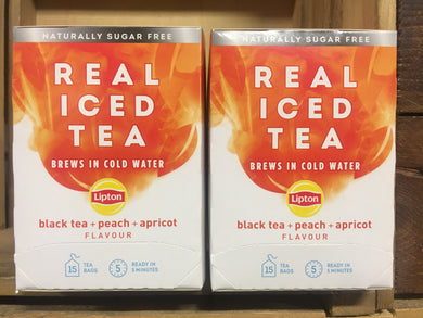 30x Lipton Real Iced Black Tea, Peach & Apricot Tea Bags (2 Packs of 15xBags)