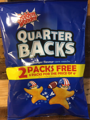 Golden Wonder Quarter Backs Cheeseburger Flavour Corn Snacks 8 Pack (8x16g)