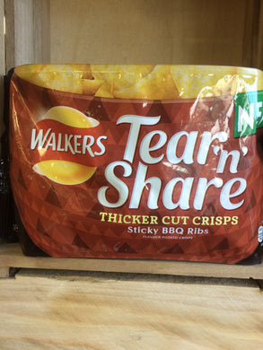 Walkers Tear 'n' Share Sticky BBQ Ribs Flavour Crisps
