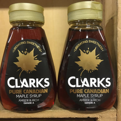 2x Clarks Maple Syrup Pure Canadian (2x180ml)