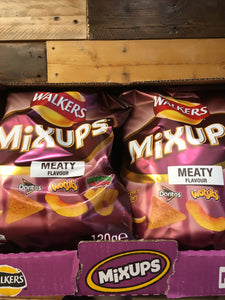 9x Walkers Mixups Meaty Flavour Crisps Box (9x120g)