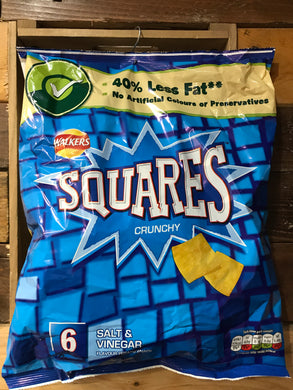 Walkers Squares Crunchy Salt & Vinegar 6x22g