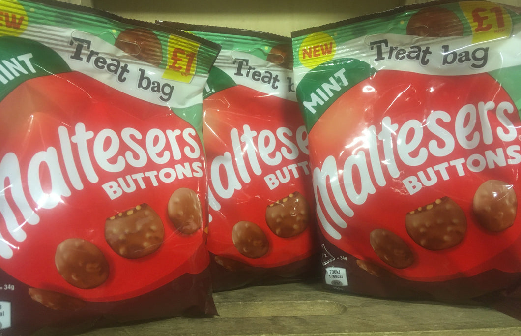 3x Maltesers Buttons Mint Chocolate Sharing Bags (3x68g)