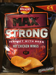 Walkers Max Strong Hot Chicken Wings 75g