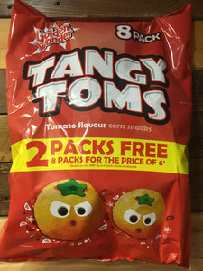 Golden Wonder Tangy Toms Tomato Flavour Corn Snacks 8 Pack (8x16g)