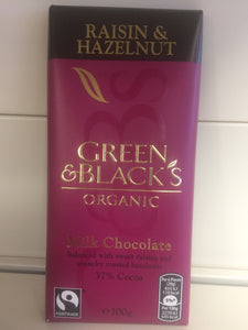 Green & Blacks Organic Raisin And Hazlenut Milk Chocolate Bar 100g