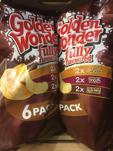 24x Golden Wonder Fully Flavoured Meaty Crisps (4x6 Packs x25g)