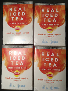 75x Lipton Real Iced Black Tea, Peach & Apricot Tea Bags (5 Packs of 15xBags)