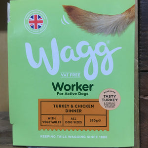 4x Wagg Turkey & Chicken Working Wet Dog Food (4x 390g Trays)