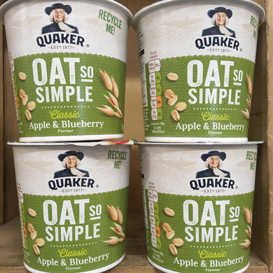 4x Quaker Oat So Simple Apple & Blueberry Pots (4x57g)