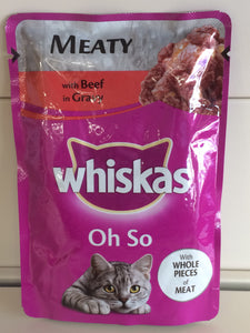 Whiskas Oh So Meaty Pouches with Beef in Gravy 85g