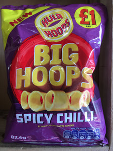 16x Hula Hoops Spicy Chilli Big Hoops Potato Rings Box (16x87.4g)