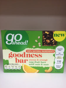 Go Ahead Goodness Bar Cocoa & Orange 4x 30g Bars