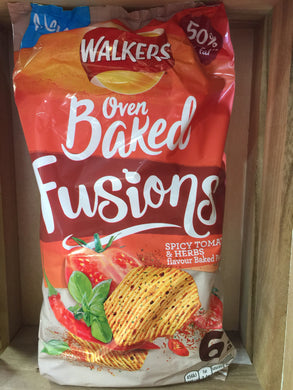 Walkers Oven Baked Fusions Spicy Tomato & Herb Snacks 25g x 6 per pack