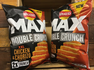 4x Walkers Max Double Crunch XXL Chicken & Chorizo Share Bags (4x140g)