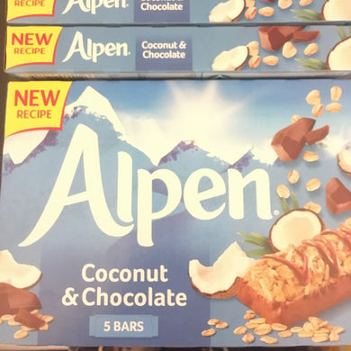 25x Alpen Coconut & Chocolate Cereal Bars (5 Packs of 5 x 29g)