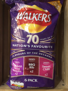 Walkers 70 Years Variety Pack 6x25g