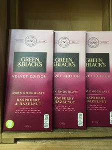 4x Green & Black's Velvet Dark Chocolate with Raspberry & Hazelnut (4x90g)