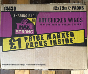 12x Walkers Max Strong Hot Chicken Wings Crisps (12x75g)