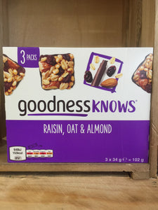 Goodnessknows Raisin, Oat & Almond Bars 3 Pack 3x34g (102g)