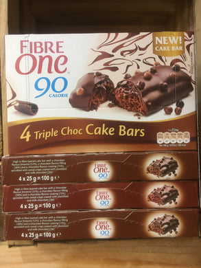 20x Fibre One Triple Chocolate Cake Bars (5 Packs of 4x25g)