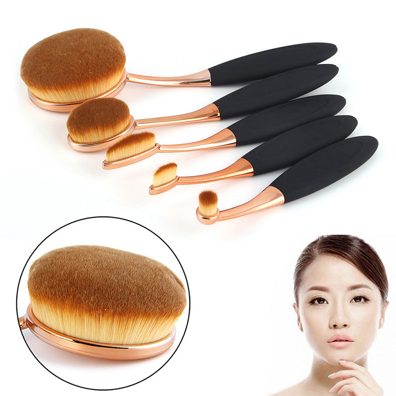New 5 Piece Soft Make Up Toothbrush Shape Rose Gold Oval Makeup Brush Set