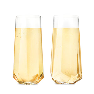 Raye™ Faceted Crystal Champagne Glass (set of 2) by Viski - Big Bar Shots