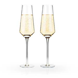 Raye Crystal Champagne Flutes (Set of 2 ) by Viski - Big Bar Shots