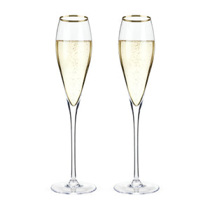 Belmont™ Gold Rimmed Crystal Champagne Flutes (Set of 2) - Big Bar Shots