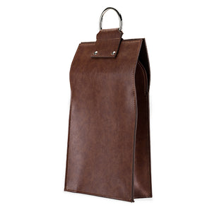 Admiral: Faux Leather Double Bottle Brown Wine Tote (VISKI) - Big Bar Shots