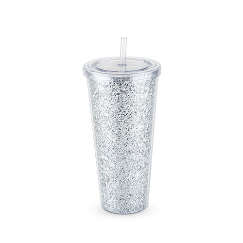 Glam Silver Double Walled Glitter Tumbler by Blush - Big Bar Shots