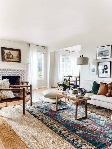 Moroccan rug living room