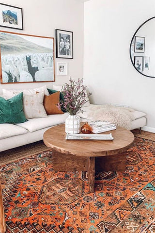 mid-century rug living room