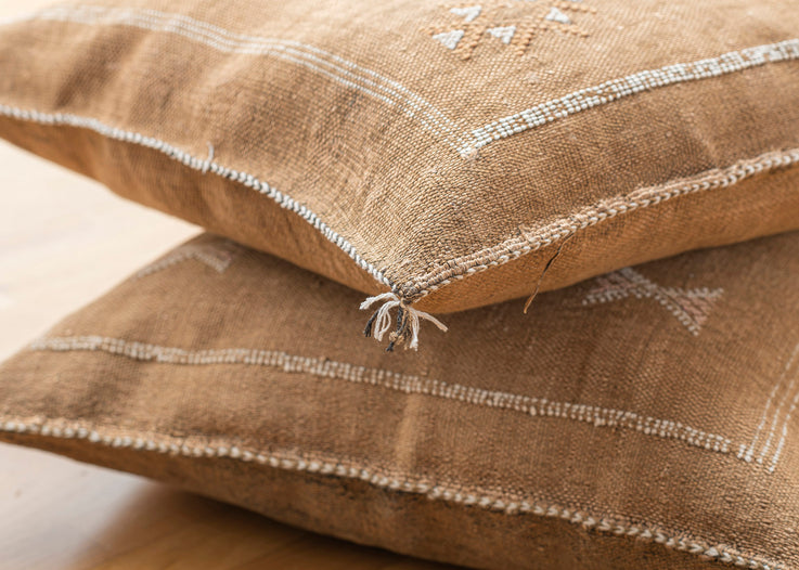Brown Moroccan Cactus Silk Pillow 273