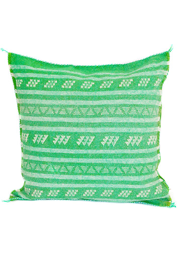 green cactus silk pillow