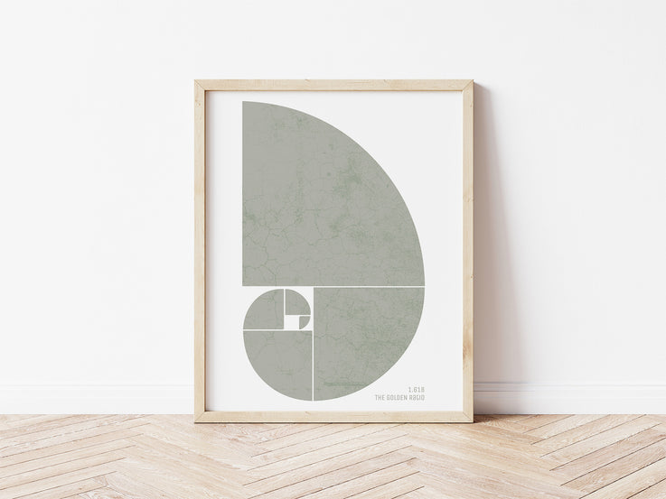 Golden Ratio Print / Fibonacci Spiral Poster / Fibonacci Sequence Wall Art / Abstract Printable Wall Art / Boho Print / Boho Wall Decor