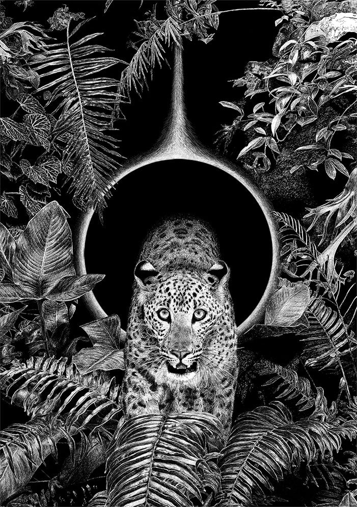 Black and White Leopard in the Jungle Wall Art Print