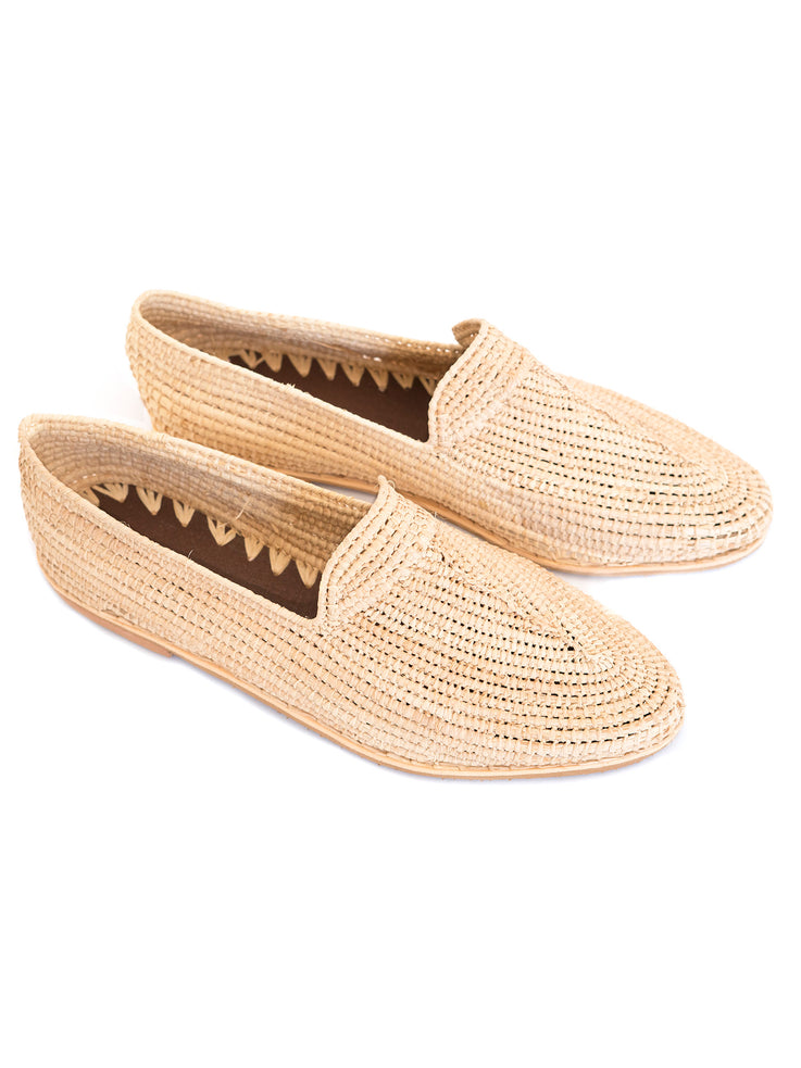 Natural Raffia Moccasins Handwoven in Morocco