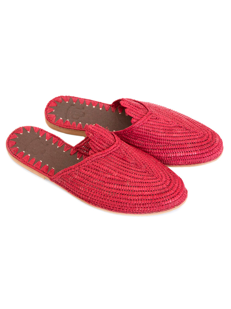 Red Raffia slide sandals handwoven in Morocco