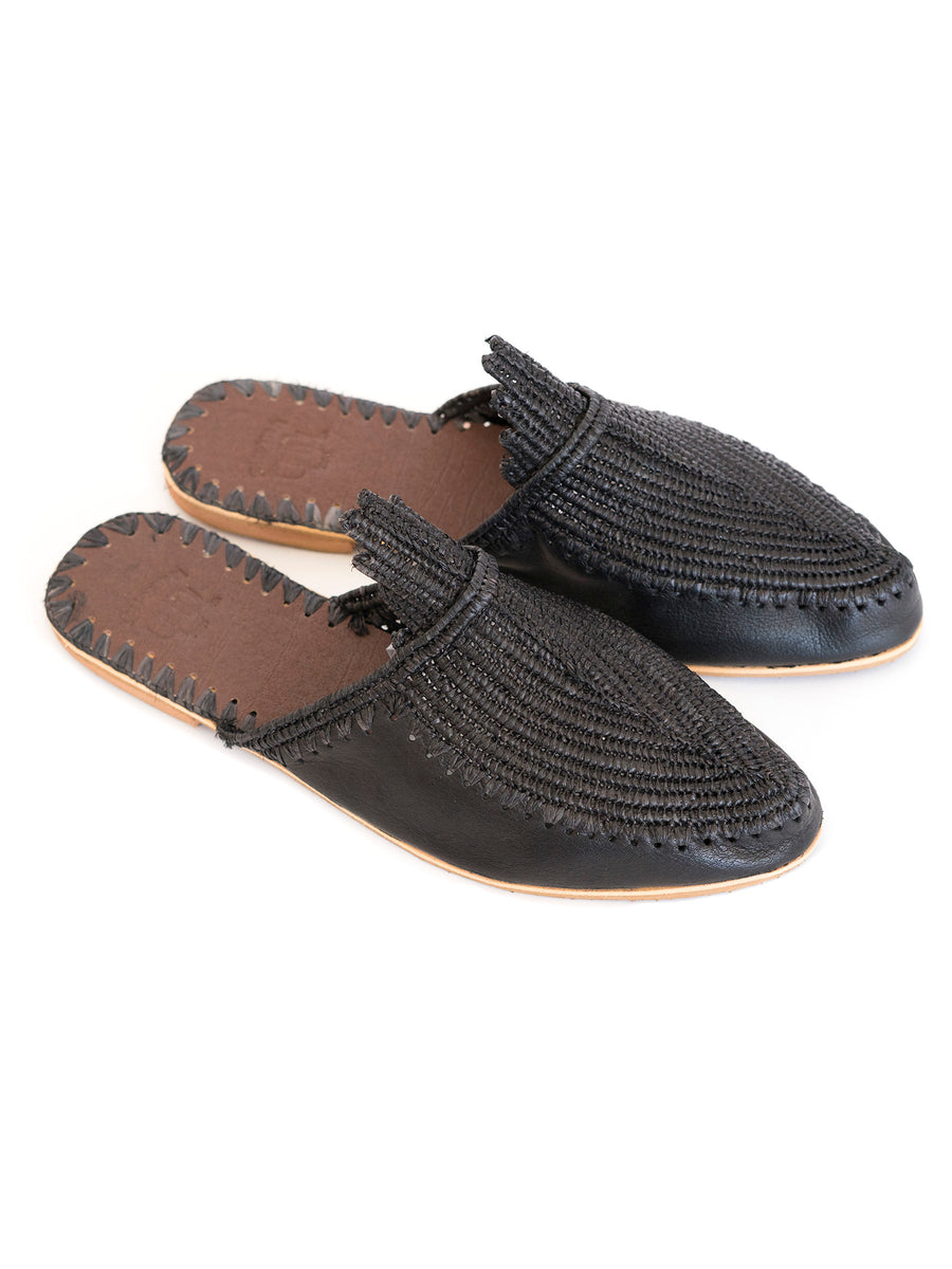 Moroccan handmade raffia slide sandals slippers