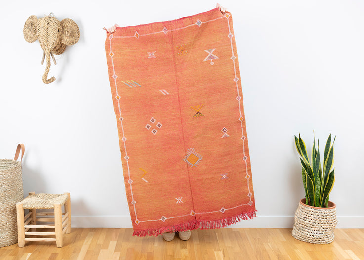 Burnt Orange Moroccan Cactus Silk Rug