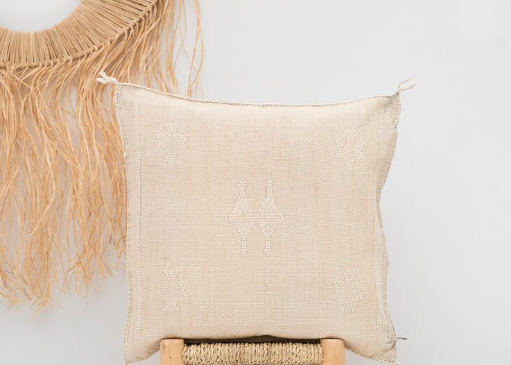 Light Sand Moroccan Cactus Silk Pillow