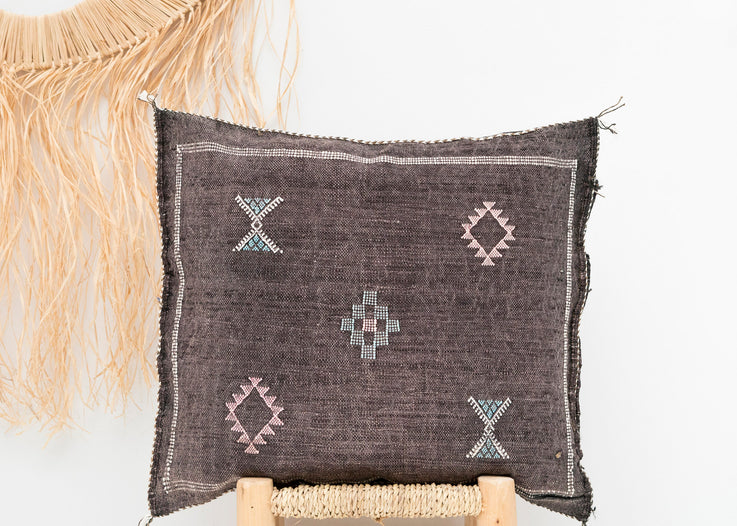 Dark Brown Moroccan Cactus Silk Pillow