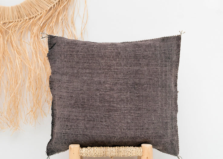 Faded Black Moroccan Cactus Silk Pillow 281