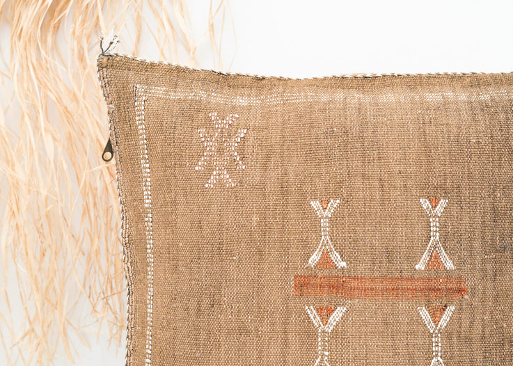 Brown Moroccan Cactus Silk Pillow