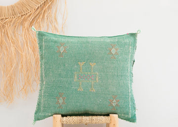 Green Moroccan Cactus Silk Pillow