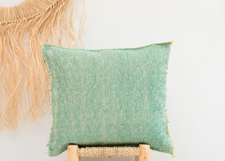Green Moroccan Cactus Silk Pillow 254
