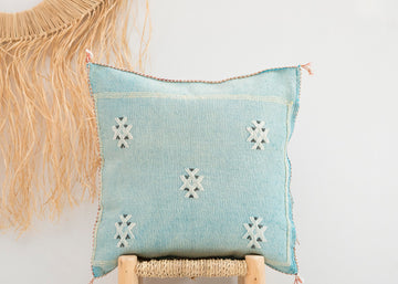 Sky Blue Moroccan Cactus Silk Pillow
